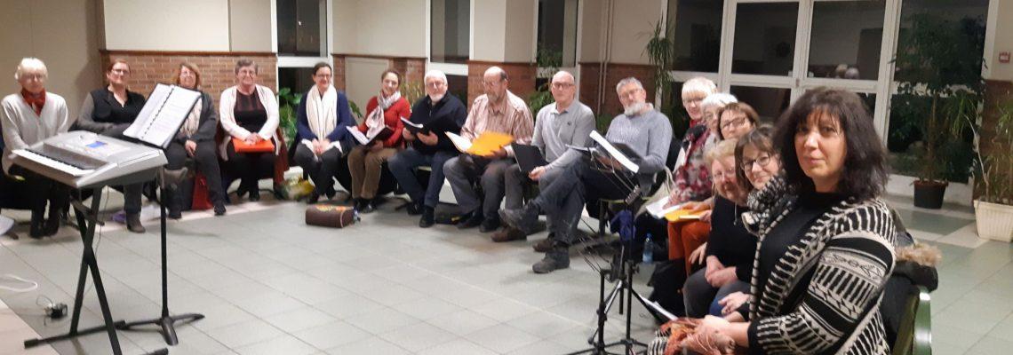 La chorale en répétition le 20 janvier 2020